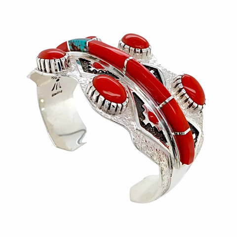Navajo Red Coral & Turquoise Inlay Cuff Bracelet - Michael Perry - Native American