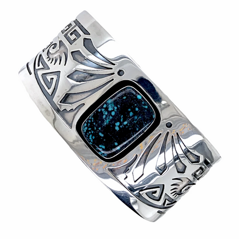 Image of Navajo Kingman Spiderweb Turquoise Shadowbox Engraved Sterling Silver Cuff Bracelet - Native American