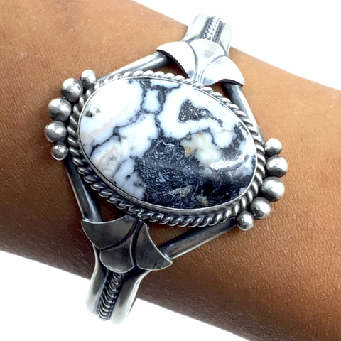 Image of Navajo White Buffalo Stone Twist-Wire Sterling Silver Cuff Bracelet - Mary Ann Spencer - Native American