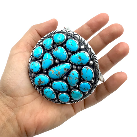 Image of Large Navajo Sleeping Beauty Turquoise Cluster Cuff Bracelet- Paul Livingston - Native American