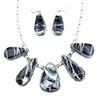 Stunning Navajo White Buffalo Long Teardrop Stone Necklace & Earrings Set - Samson Edsitty - Native American