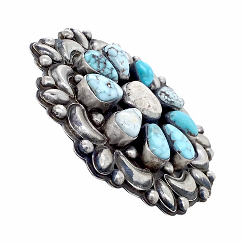 Image of Navajo Large Dry Creek Turquoise Cluster Sterling Silver Stamped Overlay Ring - Bobby Johnson - Native American