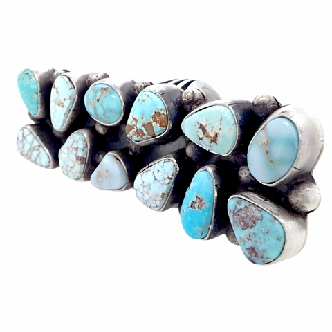 Image of Navajo Large 12-Stone Dry Creek Turquoise Cluster Sterling Silver Ring - Sheila Becenti - Native American