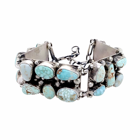 Image of Navajo Dry Creek Turquoise Cluster Sterling Silver Drop Link Bracelet - Native American