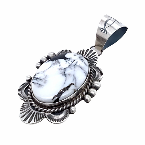 Navajo White Buffalo Oval Stone Old-Style Stamped Sterling Silver Border Pendant - Mary Ann Spencer - Native American