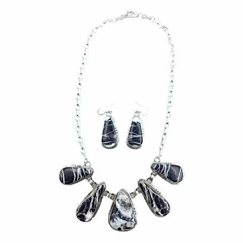 Image of Stunning Navajo White Buffalo Long Teardrop Stone Necklace & Earrings Set - Samson Edsitty - Native American