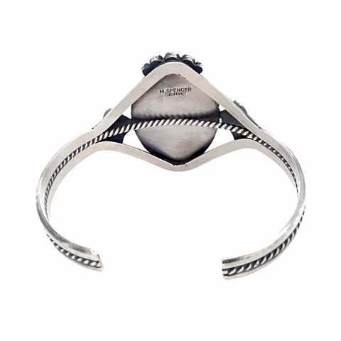 Navajo White Buffalo Stone Twist-Wire Sterling Silver Cuff Bracelet - Mary Ann Spencer - Native American