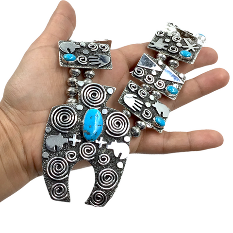 Image of Navajo Petroglyph Sterling Silver & Kingman Turquoise Squash Blossom Necklace & Earrings Set - Alex Sanchez - Native American