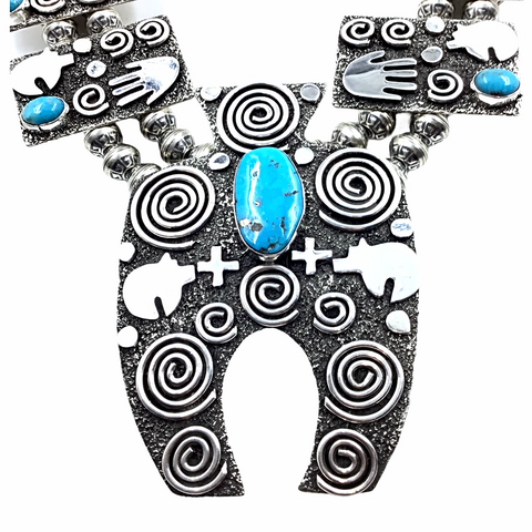 Navajo Petroglyph Sterling Silver & Kingman Turquoise Squash Blossom Necklace & Earrings Set - Alex Sanchez - Native American