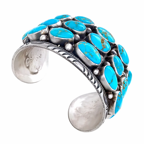Large Wide Navajo Sleeping Beauty Turquoise Cluster Cuff Bracelet- Paul Livingston - Native American