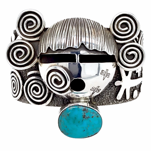 Image of Navajo Kingman Turquoise Kachina Petroglyph Sterling Silver Stamped Cuff Bracelet - Alex Sanchez - Native American