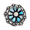 Navajo Large Dry Creek Turquoise Cluster Sterling Silver Stamped Overlay Ring - Bobby Johnson - Native American