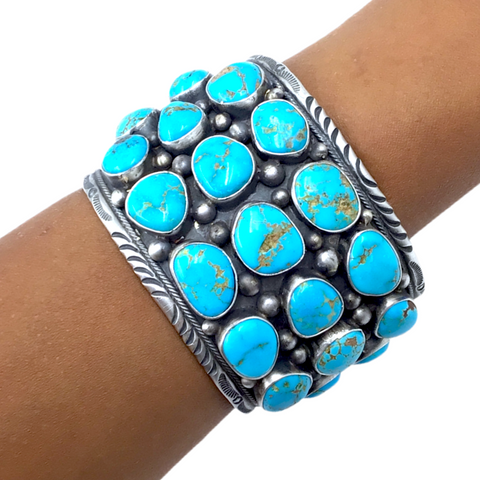 Image of Large Wide Navajo Sleeping Beauty Turquoise Cluster Cuff Bracelet- Paul Livingston - Native American