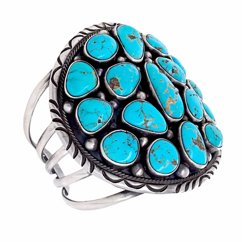 Large Navajo Sleeping Beauty Turquoise Cluster Cuff Bracelet- Paul Livingston - Native American