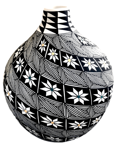 Acoma Flower Design Swirl Pot