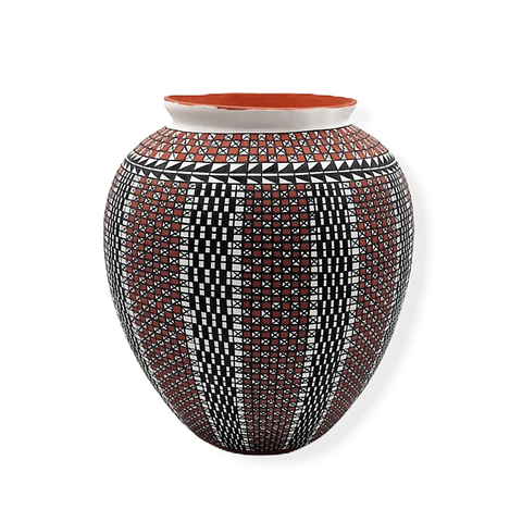Acoma Pueblo Arrow-Pattern Pot By Melissa Antonio