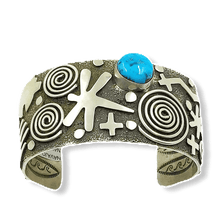 Load image into Gallery viewer, Alex Sanchez Petroglyph Turquoise Bracelet