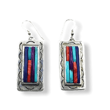 Load image into Gallery viewer, SOLD Navajo Carlos Eagle Multi-Stone Earr