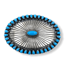 Load image into Gallery viewer, D. Clark Navajo High Grade Sleeping Beauty Turquoise Buckle