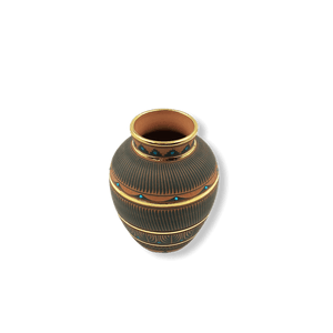 Etched Navajo Medium Pot W/ Gold By L. Smith