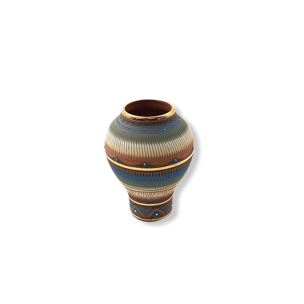 Etched Navajo Narrow Bottom Vase W/ Gold Lori Smith