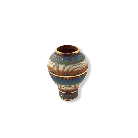 Image of Etched Navajo Narrow Bottom Vase W/ Gold Lori Smith