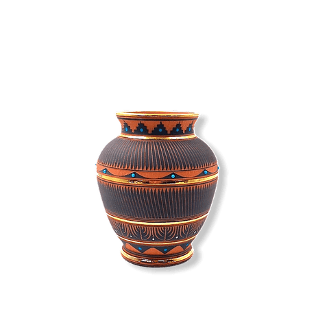 Image of Etched Navajo Vase W/ Gold By Lori Smith