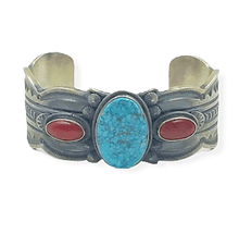Load image into Gallery viewer, Freddie Maloney Kingman Turquoise, Coral Bracelet -Navajo