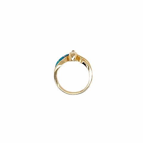 Gold Jewelry - 14K Solid Gold .29 CT Teardrop Diamond & Natural Australian Opal Inlay Designer Ring