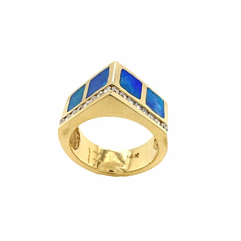 Gold Jewelry - 14K Solid Gold .34 CTW Diamond & Australian Opal Inlay Pointed Pyramid Designer Ring