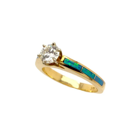 Gold Jewelry - 14K Solid Gold .51 CT Diamond & Natural Australian Opal Inlay Tiffany-Style Designer Ring