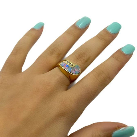 Gold Jewelry - 14K Solid Gold Diamond & Ethiopian Opal Inlay Spiral Designer Ring