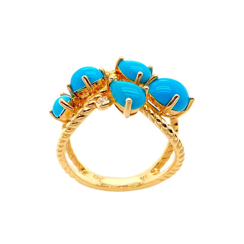 Gold Jewelry - 14K Solid Gold Diamond & Sleeping Beauty Turquoise Cluster Designer Ring