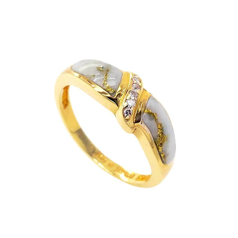 Gold Jewelry - 14K Solid Gold Diamonds & Gold Quartz Inlay Designer Ring Band
