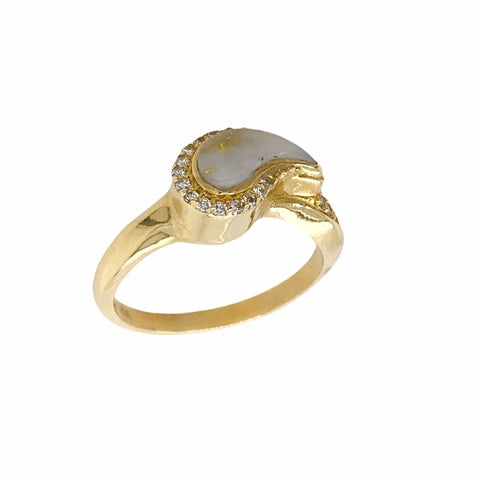Gold Jewelry - 14K Solid Gold Diamonds & Gold Quartz Inlay Teardrop Designer Ring Band