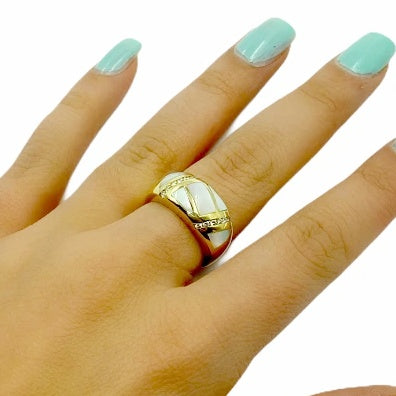 Gold Jewelry - 14K Solid Gold Diamonds & Mother Of Pearl Inlay Designer Ring Band