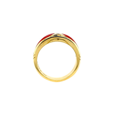 Gold Jewelry - 14K Solid Gold Diamonds & Red Coral Inlay Designer Ring Band