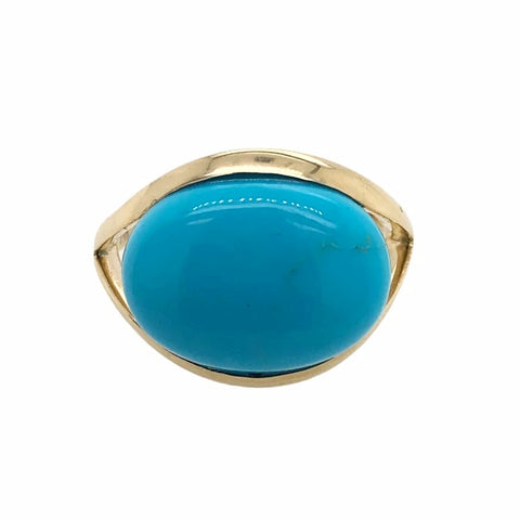 Gold Jewelry - 14K Solid Gold & Large Sleeping Beauty Turquoise Cabochon Designer Ring
