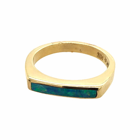 Gold Jewelry - 14K Solid Gold & Natural Australian Opal Inlay Designer Band Stack Ring
