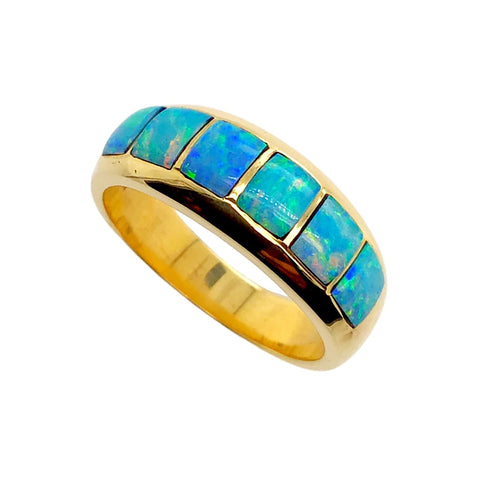 Gold Jewelry - 14K Solid Gold & Natural Australian Opal Inlay Designer Ring