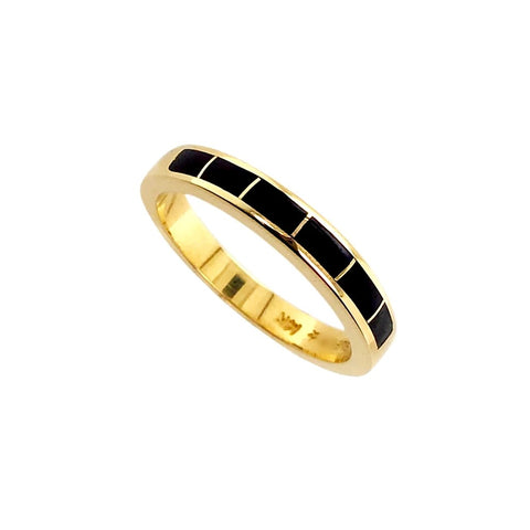 Image of Gold Jewelry - 14K Solid Gold & Natural Black Opal Inlay Designer Unisex Western Engagement Anniversary Graduation Birthday Ring Band