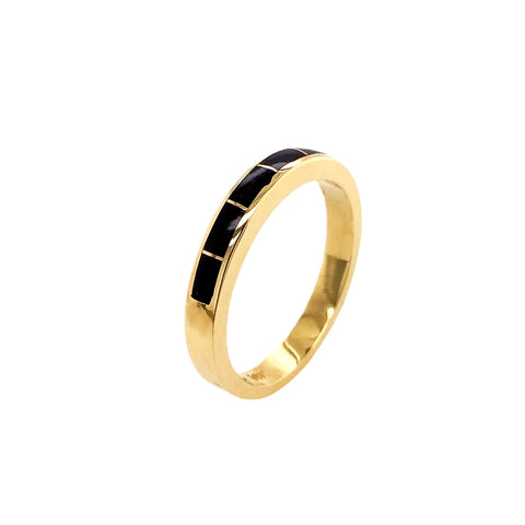 Gold Jewelry - 14K Solid Gold & Natural Black Opal Inlay Designer Unisex Western Engagement Anniversary Graduation Birthday Ring Band