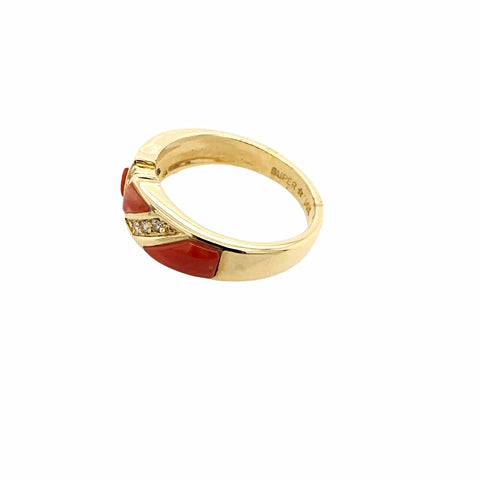 Gold Jewelry - 14K Solid Gold Red Coral Inlay & Diamond Channels Designer Ring Band