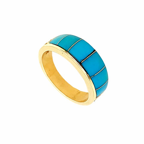 Gold Jewelry - 14K Solid Gold & Sleeping Beauty Turquoise Inlay Designer Band Ring
