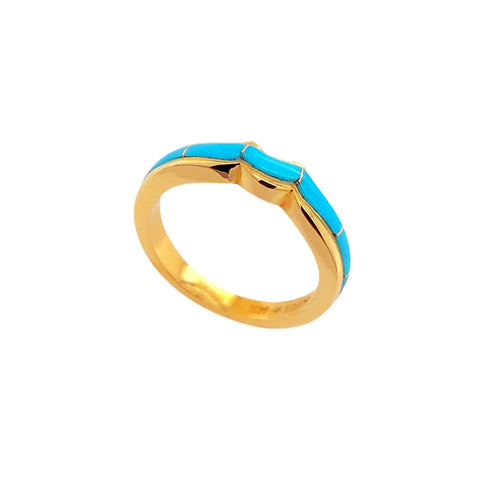Gold Jewelry - 14K Solid Gold & Sleeping Beauty Turquoise Inlay Designer Thin Band Stack Ring