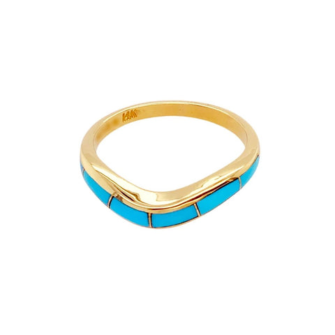 Gold Jewelry - 14K Solid Gold & Sleeping Beauty Turquoise Inlay Wavy Designer Ring