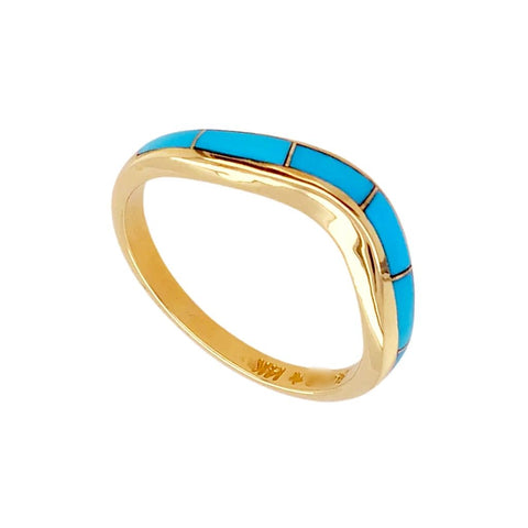 Image of Gold Jewelry - 14K Solid Gold & Sleeping Beauty Turquoise Inlay Wavy Designer Ring