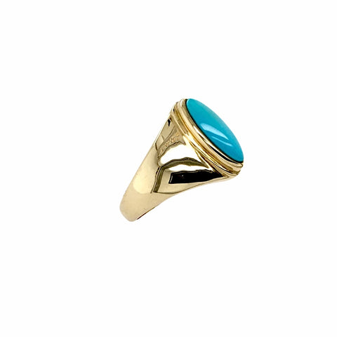 Gold Jewelry - 14K Solid Gold & Sleeping Beauty Turquoise Long Oval Designer Ring