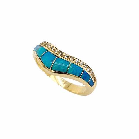 Gold Jewelry - 14K Solid Gold Wavy Diamond & Natural Australian Opal Inlay Designer Ring