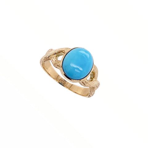 Image of Gold Jewelry - 14K Solid Rose Gold & Sleeping Beauty Turquoise Cabochon Designer Ring
